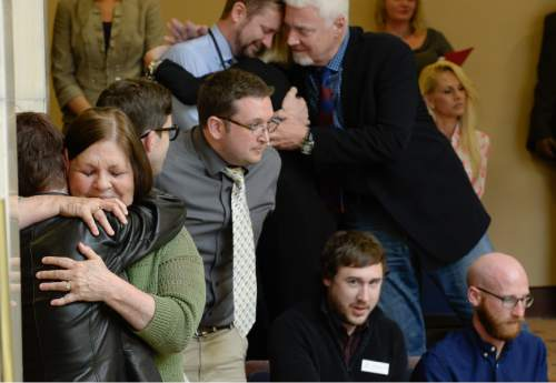 Francisco Kjolseth  |  The Salt Lake Tribune  Proponents of the nondiscrimination religious liberties bill SB296 celebrate the vote 23-5 by the Senate to pass the bill following extensive discussion on Friday, March 6, 2015.