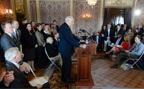 Francisco Kjolseth  |  The Salt Lake Tribune  L. Tom Perry, second in line for the LDS Church's presidency speaks in support of nondiscrimination bill SB256 during a press announcement at the Utah Capitol on Wednesday, March 4, 2015.