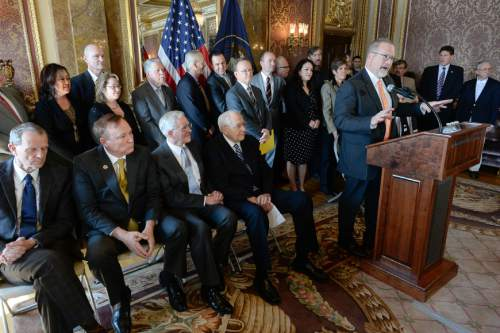 Francisco Kjolseth  |  The Salt Lake Tribune  Senator Stephen Urquhart, R-St. George, is joined by senators, representatives, LDS leaders, and members of the LGBT community as he discusses the fine points of the nondiscrimination bill SB256, during a press announcement at the Utah Captiol.