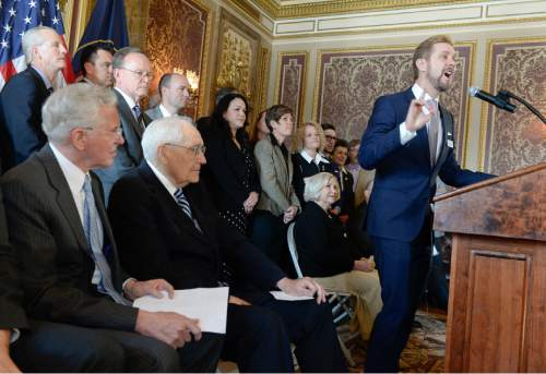 Francisco Kjolseth  |  The Salt Lake Tribune  Executive Director of Equality Utah Troy Williams expresses his support for the nondiscrimination bill SB256, announced during a press conference at the Utah Capitol on Wednesday, March 4, 2015. Also in attendance were multiple legislators and top Mormon leaders, including apostle D. Todd Christofferson, and L. Tom Perry, second in line for the LDS Church's presidency, from left.