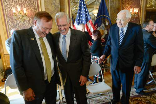 Francisco Kjolseth  |  The Salt Lake Tribune  Sen. Jim Dabakis, D-Salt Lake, left, greets top Mormon leaders, including apostle D. Todd Christofferson, center, and L. Tom Perry, second in line for the LDS Church's presidency, as they appear at a news conference at the Capitol to publicly endorse nondiscrimination bill SB296.