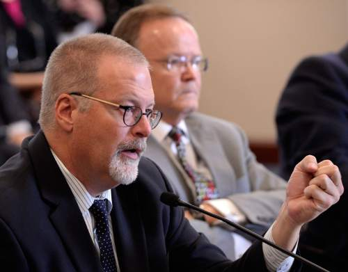 Al Hartmann  |  The Salt Lake Tribune  Sen. Stephen Urquhart, R-Saint George, left, and Sen. Stuart Adams, R-Layton, defend the landmark Antidiscrimination and Religious Freedom, SB296 Thursday March 5 in the Senate Business and Labor Committee.