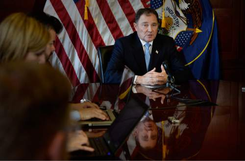 Scott Sommerdorf   |  The Salt Lake Tribune Utah Gov. Gary Herbert answers questions during a press availability, Thursday, February 5, 2015.