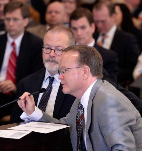 Al Hartmann  |  The Salt Lake Tribune  The landmark Antidiscrimination and Religious Freedom, SB296 sponsored by Sen. Stephen Urquhart, R, Saint George, left, and Sen. Stuart Adams, R-Layton gets its first hearing Thursday March 5 in the Senate Business and Labor Committee.  Many speakers spoke for and against the bill but the committee ended up passing it to be heard on the house and senate floor this session.