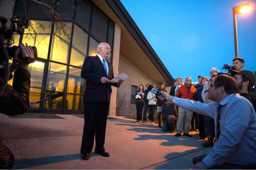 Rick Egan  |  The Salt Lake Tribune  LDS spokesman James Jenkins speaks to a crowd of more than 200 people as they arrive at the North Logan LDS Stake Center for the disciplinary council in North Logan, Sunday, February 8, 2015
