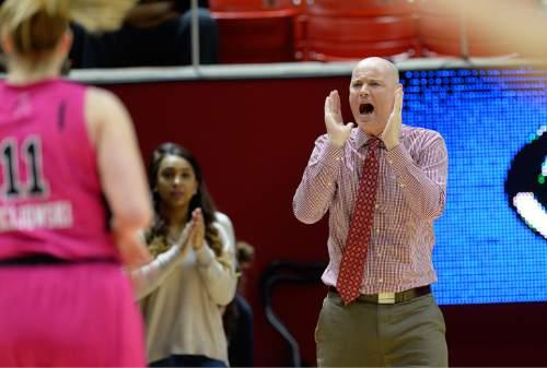 Scott Sommerdorf   |  The Salt Lake Tribune Utah head coach Anthony Levrets yells to his team during second-half play. Oregon State defeated Utah 52-42, Sunday, Feb. 22, 2015.