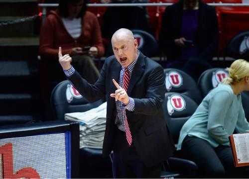 Scott Sommerdorf   |  The Salt Lake Tribune Utah head coach Anthony Levrets gives instructions to his offense during first half play. Arizona State beat Utah 58-48, Sunday, February 1, 2015.