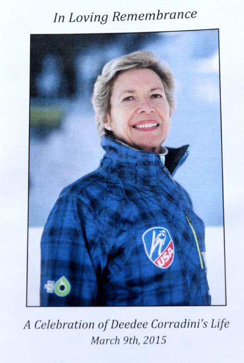 Steve Griffin     The Salt Lake Tribune  The cover of the program for the celebration of former Mayor Deedee Corradiniís life during the service at Wasatch Presbyterian Church in Salt Lake City, Monday, March 9, 2015.