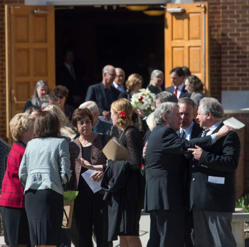 Steve Griffin     The Salt Lake Tribune  People hug outside Wasatch Presbyterian Church after a celebration of life service for former Mayor Deedee Corradini in Salt Lake City, Monday, March 9, 2015.