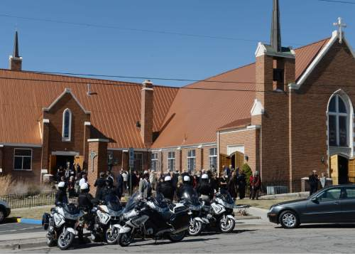 Steve Griffin     The Salt Lake Tribune  People gather outside Wasatch Presbyterian Church after a celebration of life service for former Mayor Deedee Corradini in Salt Lake City, Monday, March 9, 2015.
