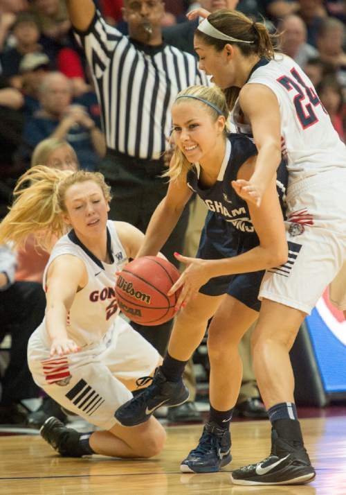 Rick Egan  |  The Salt Lake Tribune  Brigham Young Cougars guard Makenzi Morrison (23) tries to get through defenders, Gonzaga Bulldogs guard Georgia Stirton (5) Gonzaga Bulldogs guard Keani Albanez (24) in the West Coast Conference Basketball Championships, at the Orleans Arena, in Las Vegas,  Monday, March 9, 2015