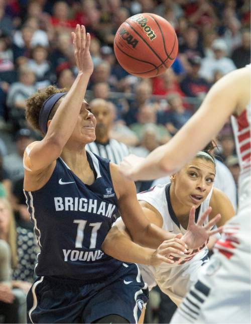 Rick Egan  |  The Salt Lake Tribune  Brigham Young Cougars guard Xojian Harry (11) gets tangled up with Gonzaga Bulldogs forward Shaniqua Nilles (22),in the West Coast Conference Basketball Championships, at the Orleans Arena, in Las Vegas,  Monday, March 9, 2015