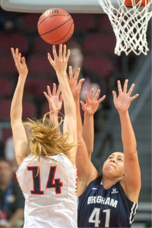 Rick Egan  |  The Salt Lake Tribune  Gonzaga Bulldogs forward Sunny Greinacher (14) shoots over Brigham Young Cougars forward Morgan Bailey (41), in the West Coast Conference Basketball Championships, at the Orleans Arena, in Las Vegas,  Monday, March 9, 2015