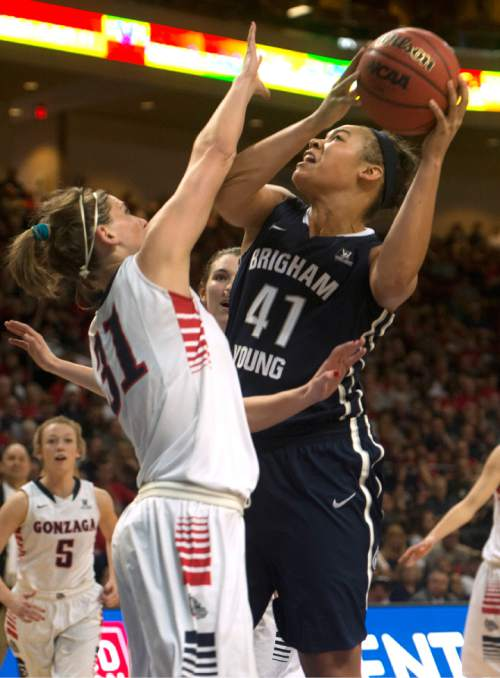 Rick Egan  |  The Salt Lake Tribune  Brigham Young Cougars forward Morgan Bailey (41) looks for a shot, as Gonzaga Bulldogs guard Elle Tinkle (31) defends, in the West Coast Conference Basketball Championships, at the Orleans Arena, in Las Vegas,  Monday, March 9, 2015