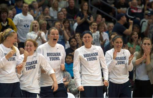 Rick Egan  |  The Salt Lake Tribune  Brigham Young Cougar bench reacts as the Cougars take the lead over Gonzaga, late in the game, in the West Coast Conference Basketball Championships, at the Orleans Arena, in Las Vegas,  Monday, March 9, 2015