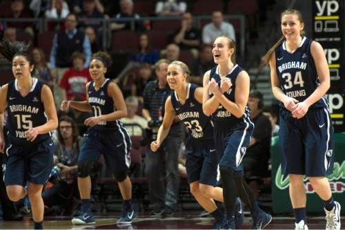 Rick Egan  |  The Salt Lake Tribune  The Brigham Young Cougars react as they stopped Gonzaga form scoring in the final seconds of the game, in the West Coast Conference Basketball Championships, at the Orleans Arena, in Las Vegas,  Monday, March 9, 2015