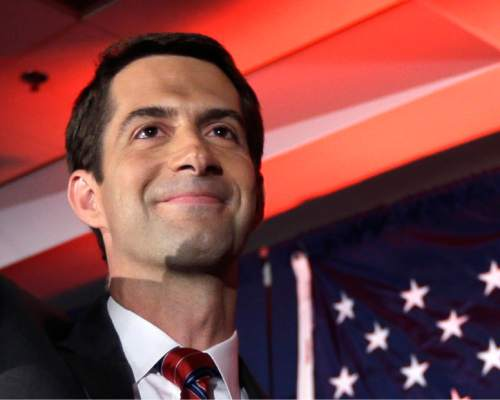 FILE - In this Nov. 4, 2014 file photo, then-Sen.-elect Tom Cotton, R-Ark.  waves at his election watch party in North Little Rock, Ark., after defeating incumbent Sen. Mark Pryor. Forty-seven Republican senators warned Monday that any agreement the Obama administration strikes with Iran to limit Tehran's nuclear program may be short-lived unless Congress approves the deal. In an open letter to Iranian leaders, Cotton and 46 other Republicans said that without congressional approval, any deal between Iran and the U.S. would be merely an agreement between President Barack Obama and Iran's supreme leader, Ayatollah Ali Khamenei. (AP Photo/Danny Johnston, File)