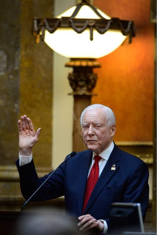 Scott Sommerdorf      The Salt Lake Tribune U.S. Senator Orrin Hatch, R-Utah, speaks in the Utah House of Representatives, Thursday, February 19, 2015.