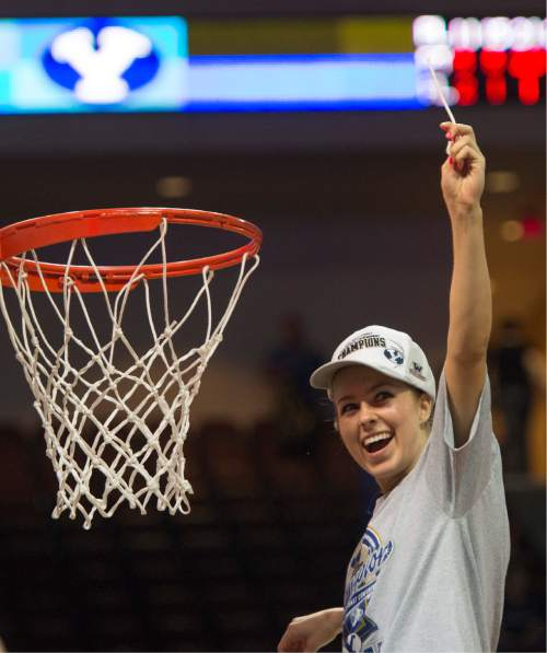 Rick Egan  |  The Salt Lake Tribune  Brigham Young Cougars guard Makenzi Morrison (23) cuts down the net, after  the Cougars defeated the San Francisco Dons 76-65, in the West Coast Conference Women's Basketball Championship game, at the Orleans Arena, in Las Vegas, Tuesday, March 10, 2015