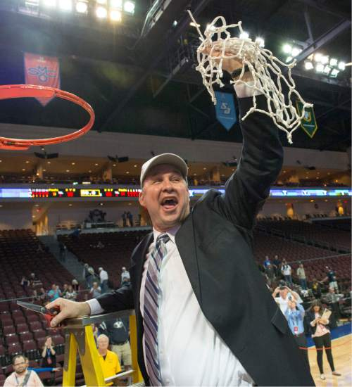 Rick Egan  |  The Salt Lake Tribune  Brigham Young Cougars head coach Jeff Judkins holds up the net, after BYU defeated the San Francisco Dons 76-65, in the West Coast Conference Women's Basketball Championship game, at the Orleans Arena, in Las Vegas, Tuesday, March 10, 2015