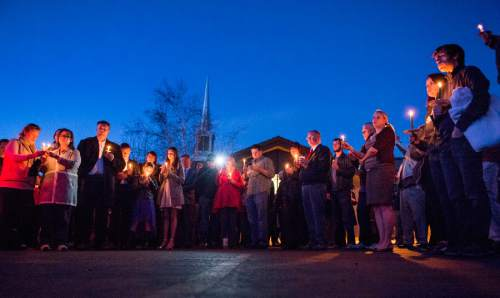 Rick Egan  |  The Salt Lake Tribune  More than 200 supporters of John Dehlin gather for a vigil at the North Logan LDS Stake Center as they wait for the decision in Dehlin's disciplinary council in North Logan, Sunday, February 8, 2015