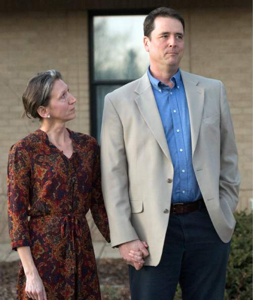 Rick Egan  |  The Salt Lake Tribune  John Dehlin and his wife Margi speak to a crowd of more than 200 people, as they arrive at the North Logan LDS Stake Center for the disciplinary council in North Logan, Sunday, February 8, 2015.