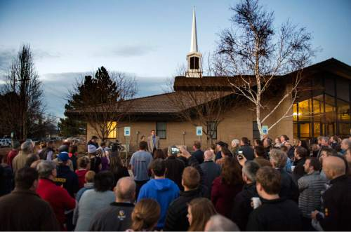 Rick Egan  |  The Salt Lake Tribune  John Dehlin speaks to a crowd of more than 200 people as they arrive at the North Logan LDS Stake Center for Dehlin's disciplinary council in North Logan, Sunday, February 8, 2015
