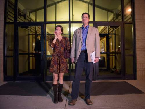 Rick Egan  |  The Salt Lake Tribune John Dehlin and his wife, Margi, make a statement to his supporters after the disciplinary council at the North Logan LDS Stake Center in North Logan in February.