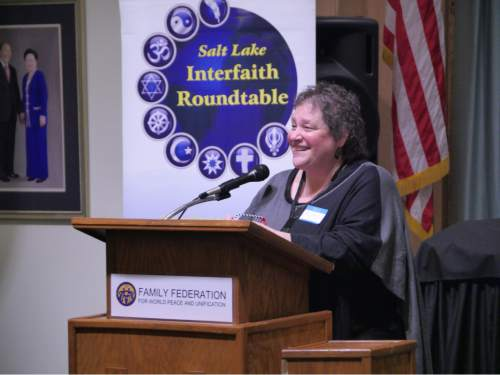 "Mike Stack  |  Courtesy photo  Virginia Hecker details her experience as a Jew in Detroit and then in Utah Tuesday at the Salt Lake Interfaith Roundtable's ""Women of Faith"" event."