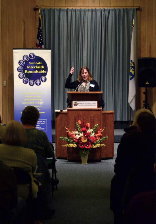 "Mike Stack  |  Courtesy photo   Rev. Christine Myers-Tegeder of First Presbyterian Church in Salt Lake City shares how she felt called to the ministry Tuesday at the Salt Lake Interfaith Roundtable's ""Women of Faith"" event."