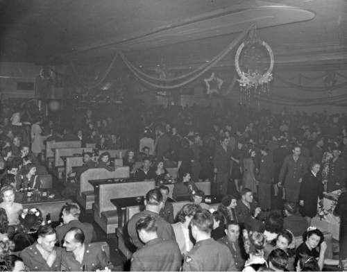 Courtesy photo | Ron Fox; Utah State Historical Society Military members attend a Christmas party hosted by The Salt Lake Tribune at the Rainbow Randevu on Dec. 18, 1944.