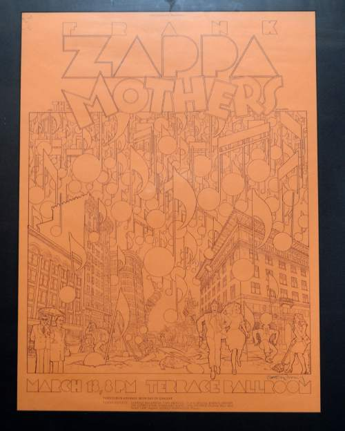 Courtesy  |  Ken Sanders Rare Books  Poster for Frank Zappa concert at the Terrace Ballroom that closed in 1981. Poster courtesy of Ken Sanders Rare Books.