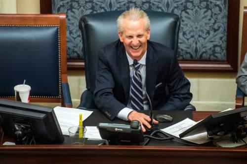 Chris Detrick  |  The Salt Lake Tribune Senate President Wayne Niederhauser laughs during the last night of the 2015 legislative session at the Utah State Capitol Thursday March 12, 2015.