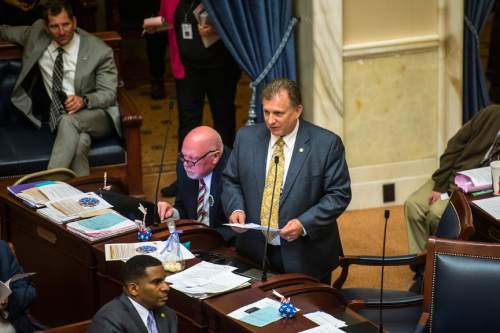 Chris Detrick  |  The Salt Lake Tribune Sen. Curtis S. Bramble speaks during the last night of the 2015 legislative session at the Utah State Capitol Thursday March 12, 2015.
