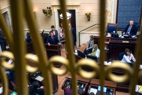 Chris Detrick  |  The Salt Lake Tribune Gov. Gary R. Herbert speaks to the Senate during the last night of the 2015 legislative session at the Utah State Capitol Thursday March 12, 2015.