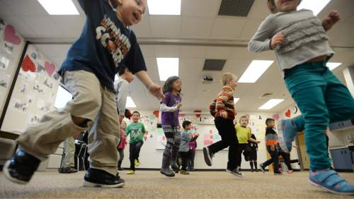 Steve Griffin  |  The Salt Lake Tribune  At Parkview Elementary School in Salt Lake City, 100 percent of kindergarteners are fully immunized. Here some of those students in Jessica Furman's class participate in a creative movement class taught by dance teacher Chara Huckins, Thursday, February 26, 2015.