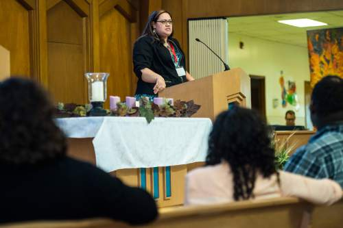 "Chris Detrick  |  The Salt Lake Tribune Kalani Tonga speaks during the Sunstone Symposium at the Community of Christ Church Saturday March 14, 2015. This ""Theology from the Margins Conference"" was for Mormons to reflect on their experiences being people of color in the LDS Church."