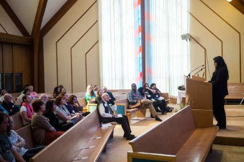 "Chris Detrick  |  The Salt Lake Tribune Dr. Elise Boxer speaks during the Sunstone Symposium at the Community of Christ Church Saturday March 14, 2015.  This ""Theology from the Margins Conference"" was for Mormons to reflect on their experiences being people of color in the LDS Church."