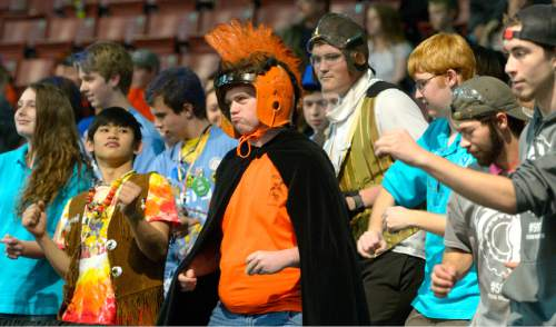Leah Hogsten  |  The Salt Lake Tribune Matt Hood sports a Roman-themed costume for his 1332 Swift robotics team from Callbran, CO during the annual Utah Regional FIRST Robotics Competition where 53 high school teams from 11 states and Canada compete to see whose robot can stack and sort recyclable materials the fastest, Saturday, March 14, 2015 at the Maverick Center.