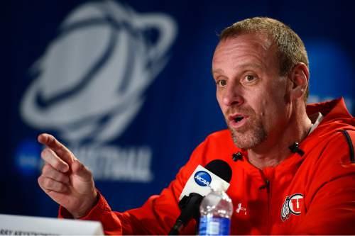 Scott Sommerdorf   |  The Salt Lake Tribune Utah Utes head coach Larry Krystkowiak speaks during the Utah press conference at the Moda Center in Portland, Wednesday, March 18, 2015.