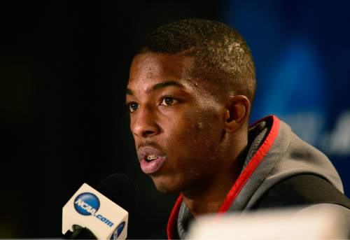 Scott Sommerdorf   |  The Salt Lake Tribune Utah Utes guard Delon Wright answers a question during a press conference at the Moda Center in Portland, Wednesday, March 18, 2015. The Utes will play Stephen F. Austin Thursday.