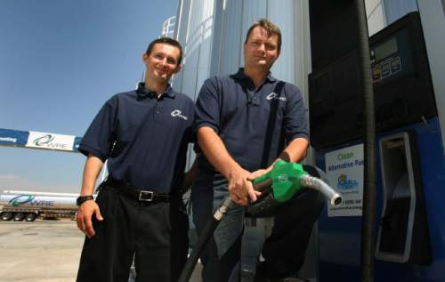 Leah Hogsten     Tribune file photo Kingston brothers Isaiah (left) and Jacob co-own WRE or Washakie Renewable Energy, that produces 10 milion gallons of biofuel. The largest biodiesel producer in Utah, Washakie Renewable Energy, held an open house in Plymouth on Thursday, September 1, 2011 to showcase its new production facility.