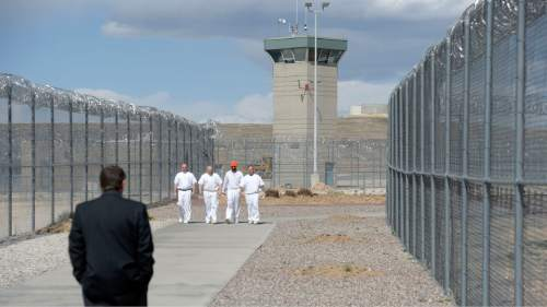 Al Hartmann  |  The Salt Lake Tribune  Inmates walk to their jobs through a fenced corridor at the Central Utah Correctional Facility in Gunnison Monday March 23, 2015.