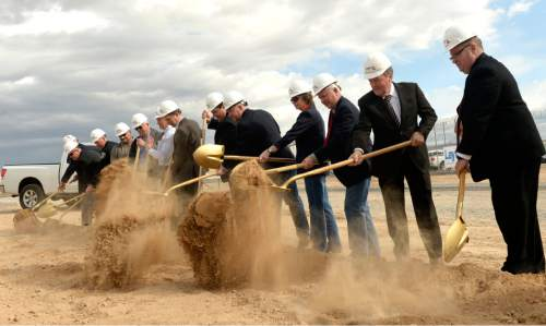 Al Hartmann  |  The Salt Lake Tribune  Utah Department of Corrections officials and local leaders break ground with a symbolic shovel of soil for the new West One Unit of the Central Utah Correctional Facility in Gunnison Monday March 23, 2015.