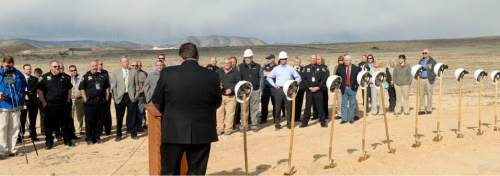 Al Hartmann  |  The Salt Lake Tribune  Rollin Cook, executive director for the Utah Department of Corrections, speaks at a ground breaking ceremony for the new West One Unit of the Central Utah Correctional Facility in Gunnison Monday March 23, 2015.