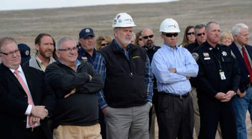 Al Hartmann  |  The Salt Lake Tribune  Utah Department of Corrections officials and local leaders gather for a ground breaking ceremony for the new expanded unit of the Gunnison Prison Monday March 23, 2015.