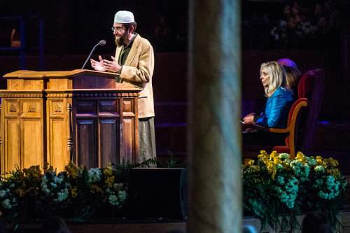 Chris Detrick  |  The Salt Lake Tribune Imam Muhammed S. Mehtar, of the Khadeeja Mosque-Islamic Society of Greater Salt Lake, speaks during the annual Interfaith Musical Tribute at the Mormon Tabernacle Sunday March 22, 2015.  The Tribute originated the Sunday before the 2002 Winter Olympic Games as a time of prayerful reflection for religious leaders and others preparing to welcome the world to Salt Lake City. It returns every year on the anniversary of the Games and is the signature event of Interfaith Month in Utah.