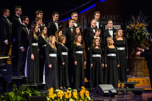 Chris Detrick  |  The Salt Lake Tribune The Lux Singers, the choir in residence at Saint Mary's Episopal Church in Provo, perform during the annual Interfaith Musical Tribute at the Mormon Tabernacle Sunday March 22, 2015.  The Tribute originated the Sunday before the 2002 Winter Olympic Games as a time of prayerful reflection for religious leaders and others preparing to welcome the world to Salt Lake City. It returns every year on the anniversary of the Games and is the signature event of Interfaith Month in Utah.