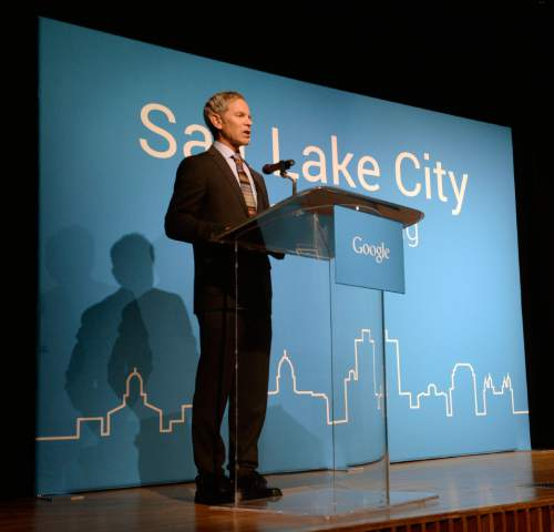 Al Hartmann  |  The Salt Lake Tribune  Mayor Ralph Becker announces Salt Lake City as the next target city for Google Fiber Tuesday March 24.  Google plans to design and build a fiber-optic internet network across the city, ultimately giving residents and businesses access to gigabit Internet speeds.