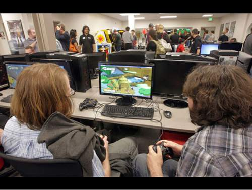 Courtesy  |  Entertainment Arts & Engineering  Students showcasing their game during an open house event.